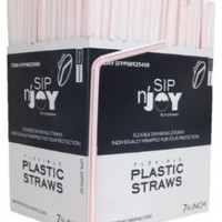 Flexible Straws, White with Red Stripes, Individually Wrapped, Box of 365 Straws