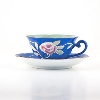 Merit Occupied Japan Cup and Saucer, Blue with Moriage Pink Rose and Green Leaves, Gold Trim