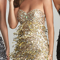 Night Moves by Allure 2013 Homecoming Dresses - Gold Beaded & Sequin Fringe Strapless Fitted Homecoming Dress