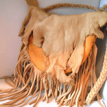 Leather Fringe Shoulder Bag, Elk and Buffalo Hide Bag, Handmade, Handsewn, Native American, Mountain Man, Rendezvous, Hippie, Rustic, Boho