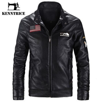 US Flag Vest Embroidery Flag Leather Jackets Men Coats Winter Warm Basic Coat Men Motorcycle