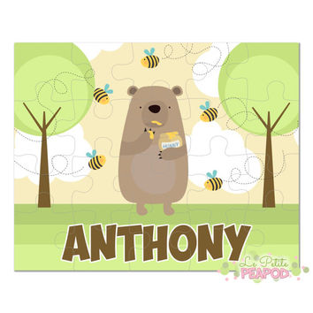 "Bear Puzzle - Personalized 8"" x 10"" Puzzle - 20 or 100 pieces - Honey Thief Design - Personalized Name Puzzle"