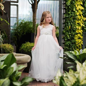 Scarlett Dress & Sash White Sweetheart Neckline Tank Tulle Dress - Extended Sizes!