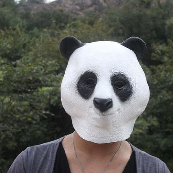 Party Panda Head Rubber Mask Party Animal Latex Toy Prop