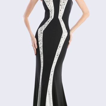 Strapless Black/White Long Fit and Flare Prom Dress