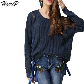HziriP Women Ribbon Sweaters Hollow Out Pullovers 2017 New Arrival Long Sleeve Loose Knitted Sweater Fashion Autumn Clothing