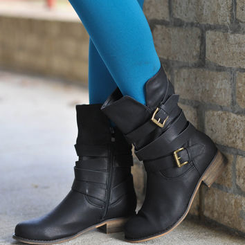 Black Buckle Combat Boot