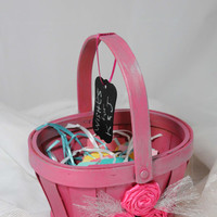 Wedding Basket, Alternative Guestbook, Advice Bride and Groom Holder, Chalkboard Tag, Bright Pink Silver, Tulle Bow, Rosettes, Bridal Advice