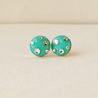 Green Earrings, Sparkly Turquoise Green Stud Earrings, Rhinestone Stud Earrings, 10 mm Earrings, Hypoallergenic, Resin Jewelry, For Her