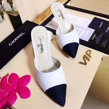 CHANEL Women Fashion Pointed Toe Mules Shoes High Heels Shoes