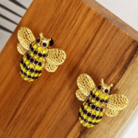 Fashion New Diamond Bee Alloy Personality Earring Women Golden