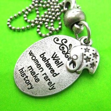 Elephant Charm Round Quote Pendant Necklace in Silver