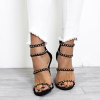 Special Places Black Studded Strappy Heels