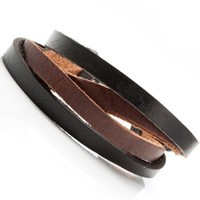 Combo Chic Black n Brown Men's Leather Bracelet Cuff
