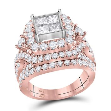 14kt Rose Gold Womens Princess Diamond Cluster Bridal Wedding Engagement Ring Band Set 3-1/3 Cttw