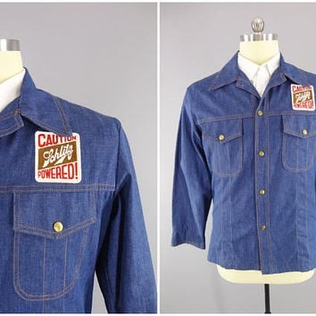 1970s Vintage Denim Shirt / RedRock Denim / Caution Schlitz Powered / Schlitz Beer Patch / Size XL 46 / Brass Buttons / Orange Stitching
