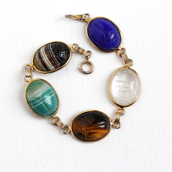 Vintage Scarab Bracelet - 12k Rosy Yellow Gold Filled Large Oval Beetle Gems - Retro 1960s Carved Egyptian Revival Agate Quartz 60s Jewelry