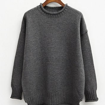 Grey Crimping Loose Sweater