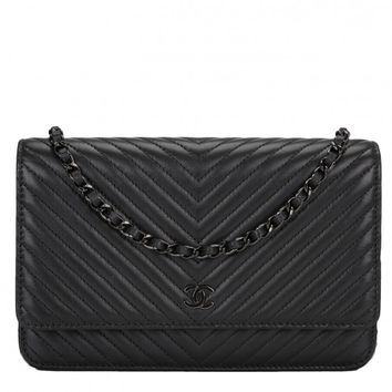 Chanel So Black Chevron Wallet On Chain (WOC)