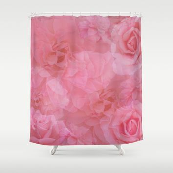 Soft Pastel Pink Rose Quartz Collage Shower Curtain by KateLCardsNMore