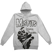 Misfits Men's  Stencil Legacy Zippered Hooded Sweatshirt Grey Rockabilia