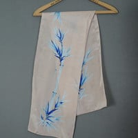 Vintage Bamboo Print Silk Scarf, 1980s, oblong 46x9 inches, Sacha for Basha Scarves, Pink & Blue