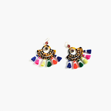J.Crew Womens Tortoise Tassel Chandelier Earrings