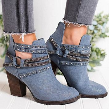 New Blue Round Toe Chunky Chain Fashion Ankle Boots