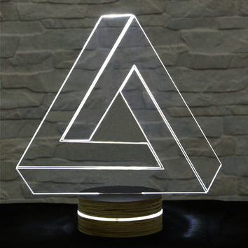 Triangle Shape, 3D LED Lamp, Home Decor, Table Lamp, Office Decor, Plexiglass Lamp, Decorative Lamp, Nursery Light, Acrylic Night Light