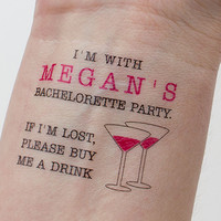 Bachelorette Temporary Tattoos,  If Lost, Buy Me a Drink Custom Tattoo, Pack of 10 Personalized Bachelorette Party Favors