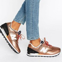 New Balance 574 Bronze Metallic Trainers at asos.com