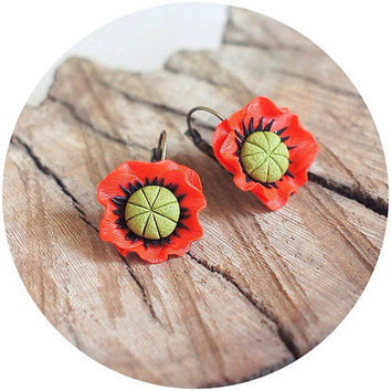 Red poppy floral earrings Polymer clay flower poppy Mothers Day gift Bridesmaids jewelry - polymer clay Poppy earrings - Red earring