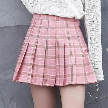Harajuku Skirts Womens 2017 Korean Summer Style New Plaid Pleated Skirt Rock Kawaii High Waist Fashion Women Clothing