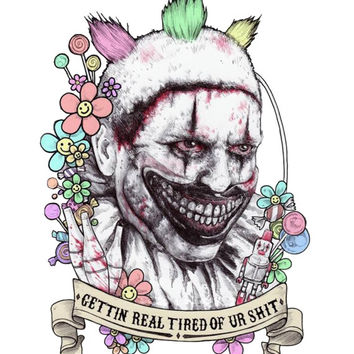 American Horror Story Clown on White American Apparel Tshirt