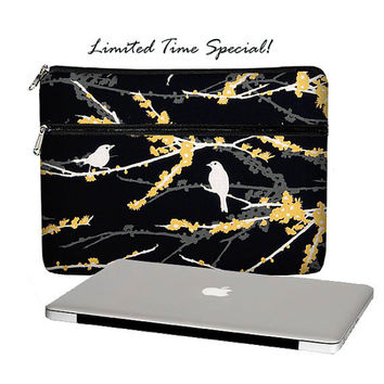 "SUPER SALE 13"" Laptop Sleeve MacBook Pro / Retina Display Womens 13 inch Laptop Case Zipper Pocket Padded Birds Black White Yellow"