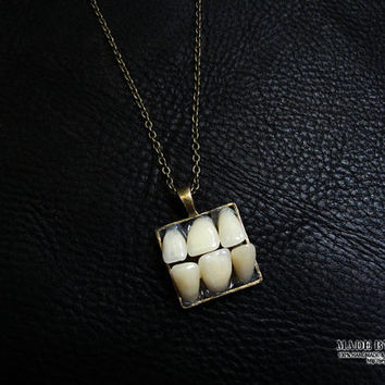 original design faux human tooth morbid goth punk style necklace