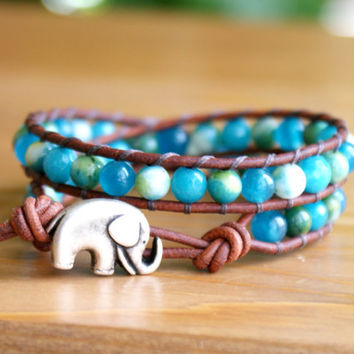 Bohemian beaded leather wrap bracelet, gemstones, Blue Jade mix, Good Luck charm, silver elephant, trendy boho chic, hipster