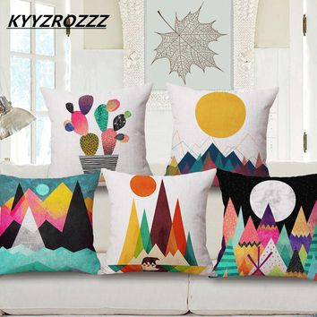 Oil Painting Colorful Triangles Mountain Sun Cushion Covers Cactus Plants Pillow Case Decorative Linen Cotton Cushions Cover