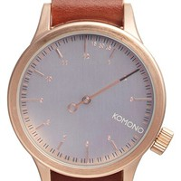 Men's Komono 'Magnus The One' Round Leather Strap Watch, 46mm - Mahogany