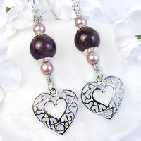Sterling Silver Heart Earrings Amethyst Rose Pearls Crystals Swarovski