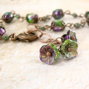 Victorian Peacock Garden Bracelet - Swarovski Flower Dangle Bracelet Copper Unique Gift Jewelry - Rustic Peacock Wedding Bridesmaids Gifts