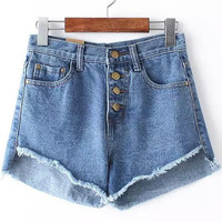 Blue Buttons Pockets Fringed Denim Shorts
