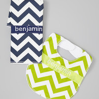 Personalized Burp Cloth and Bib Set - Baby Boy Navy Blue and Lime Green Chevrons