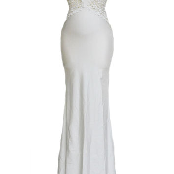 White Open Back Fine Flowers Maxi Wedding Gown LAVELIQ