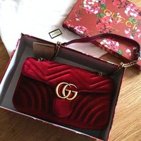 GUCCI Marmont Women Shopping Leather Metal Chain Crossbody Satchel Shoulder Bag I