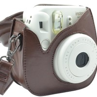 Katia PU Leather Fujifilm Instax Mini 8 Case Bag with Shoulder Strap for Fujifilm Instax Mini 8 Camera (Brown 3)