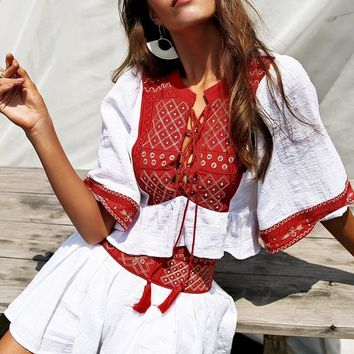 Venice Embroidery Two-Piece Romper
