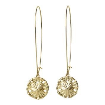 Mini Sand Dollar Dangler Earrings with Gold  Charms