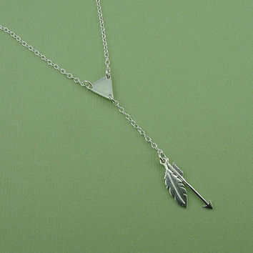 Arrow Feather Necklace - bikini necklace, triangle and drop lariat sterling silver necklace, y necklace