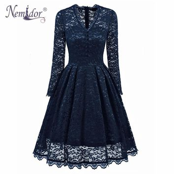Nemidor 2018 Hot Sales Women Sexy V-neck Swing A-line Dresses Elegant Long Sleeve Midi Party Retro Lace Dress